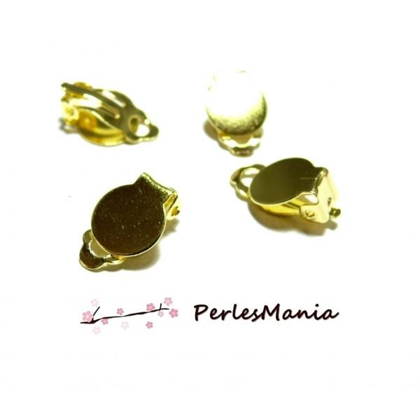 PS1179801 PAX 20 boucles d'oreille clips DORE Plateau lisse 10mm - Photo n°1