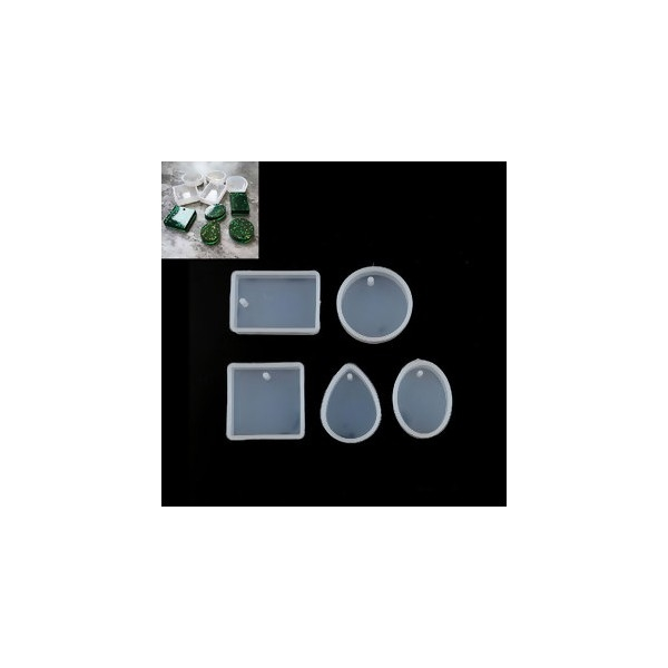 PS110117920 PAX 1 set de 5 Moules en Silicone pour Creation Fimo Cernit et inclusion Resine - Photo n°2