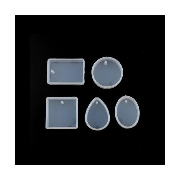 PS110117920 PAX 1 set de 5 Moules en Silicone pour Creation Fimo Cernit et inclusion Resine - Photo n°1