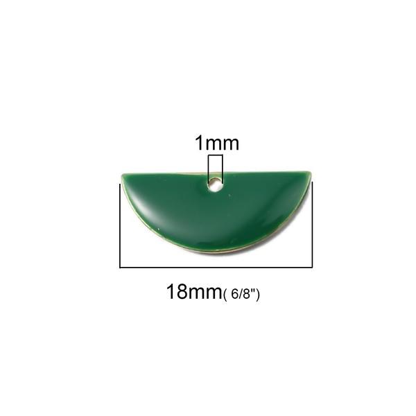 PS110140796 PAX 5 sequins médaillons résine style émaillés Biface Demi Cercle Vert Foncé 18 par 8mm - Photo n°2