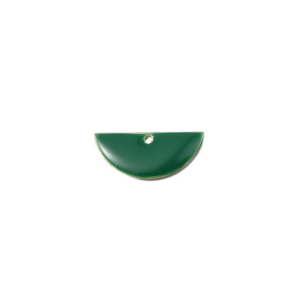 PS110140796 PAX 5 sequins médaillons résine style émaillés Biface Demi Cercle Vert Foncé 18 par 8mm - Photo n°1