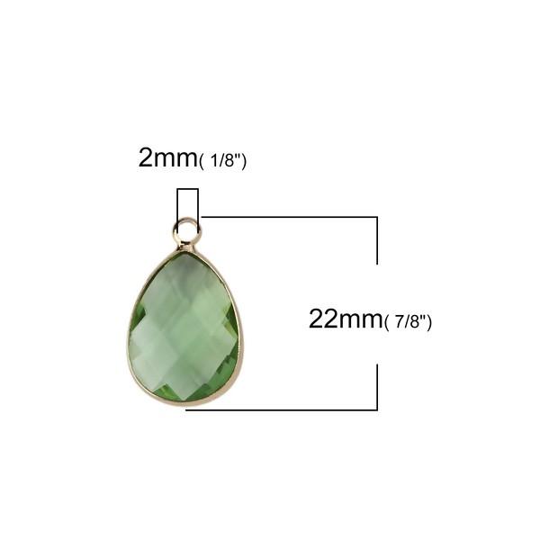 PS110112067 PAX 2 pendentifs Goutte de Verre Vert Clair 22 mm métal Doré - Photo n°2