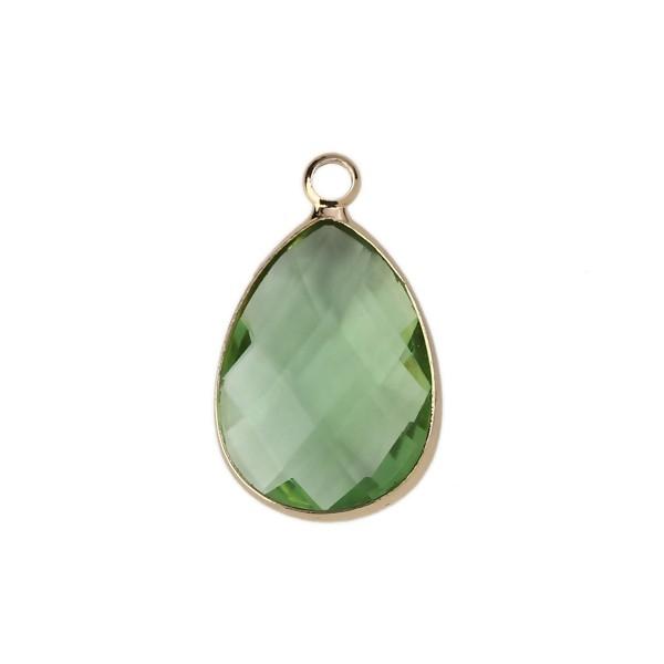 PS110112067 PAX 2 pendentifs Goutte de Verre Vert Clair 22 mm métal Doré - Photo n°1