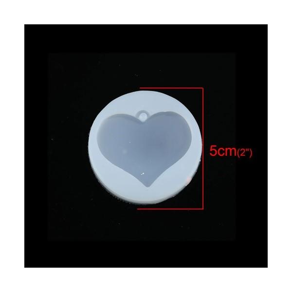 PS110116797 PAX 1 Moule en Silicone Pendentif Coeur 5 cm pour Creation Fimo Cernit Resine - Photo n°2