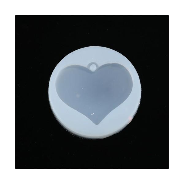 PS110116797 PAX 1 Moule en Silicone Pendentif Coeur 5 cm pour Creation Fimo Cernit Resine - Photo n°1