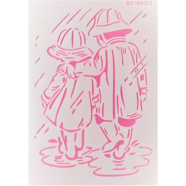 POCHOIR PLASTIQUE 30*21cm : enfants sous la pluie - Photo n°1