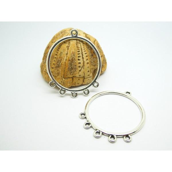 4 Chandeliers, connecteurs ronds 40*33mm argent vieilli - Photo n°1