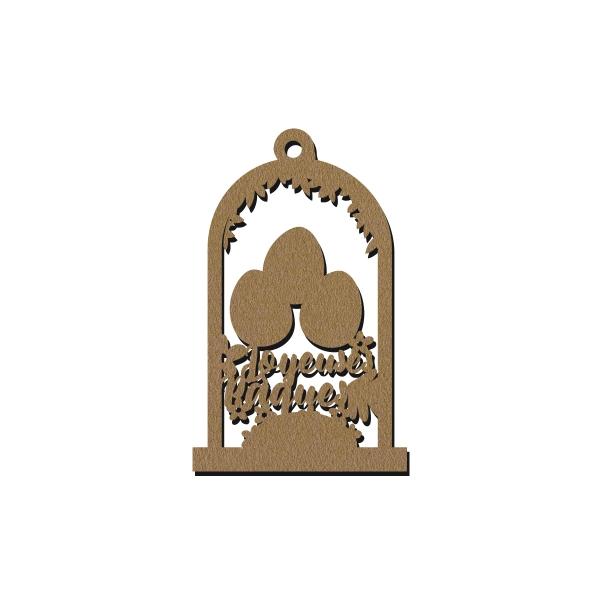 Forme Cloche en bois à décorer - Joyeuses Pâques - 7 cm - Photo n°1