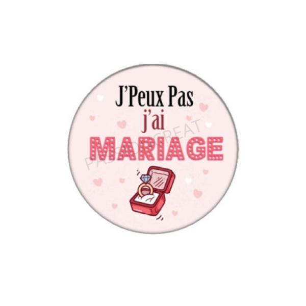 J'Peux Pas J'Ai Mariage 2 Cabochons en 18mm - Photo n°1