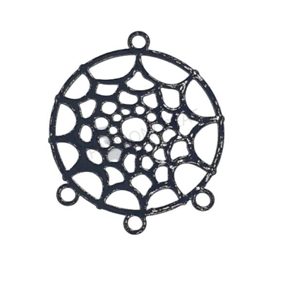 Dreamcatcher Attrape-Rêve 2 Estampes Filigranes Connecteur Noir 30x35 mm - Photo n°1
