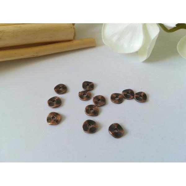 Perles métal intercalaire ondulées 7 mm cuivre rouge x 20 - Photo n°1