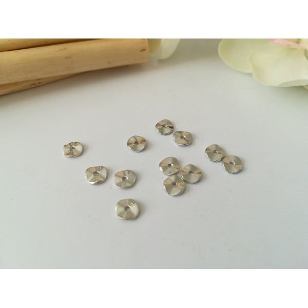 Perles métal intercalaire ondulées 7 mm argent mat x 20 - Photo n°1