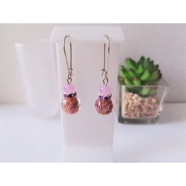 Kit boucles d'oreilles perles mauves et rondelle strass - Photo n°1