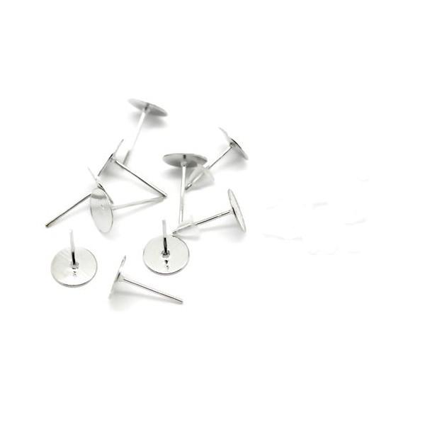 PS1117128 PAX 200 boucle d'oreille clou puce FORME PLATEAU LISSE 8mm Argent Platine - Photo n°1