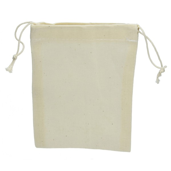Pochon en coton naturel, 15 x 10 cm, avec cordon de serrage, 105gr/m² - Photo n°1