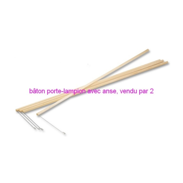 Lot de 2 Bâtons en bois porte-lampion avec anse en métal, long. 60 cm - Photo n°1