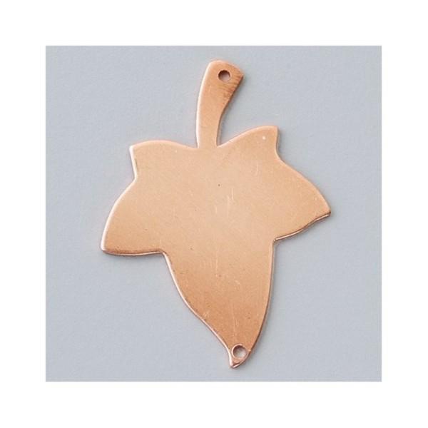 Pendentif en cuivre, ébauche émaillage froid Efcolor Feuille 2-trous - 42 × 31 m - Photo n°1