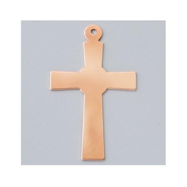 Pendentif en cuivre, ébauche émaillage froid Efcolor Croix 55 × 34 mm - Photo n°1