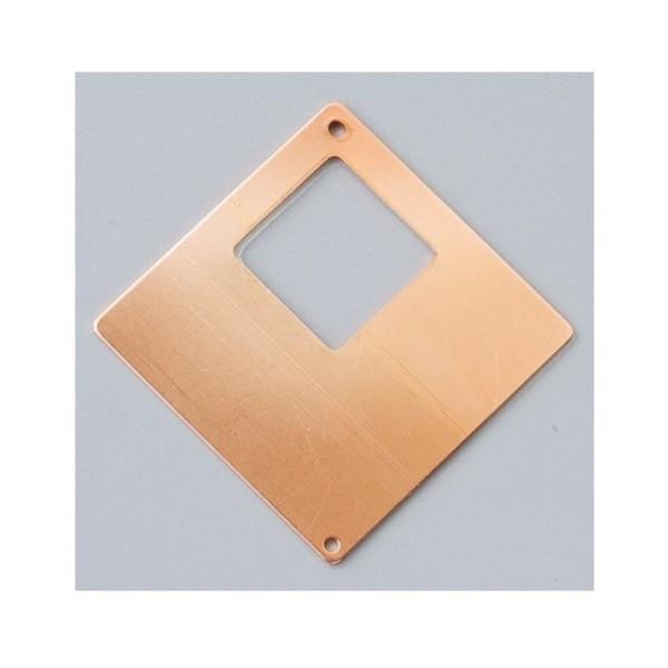 Pendentif en cuivre, ébauche émaillage froid Efcolor Carré 2 trous - 40×40 mm - Photo n°1