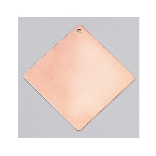 Pendentif en cuivre, Carré 1 trou - 40×40 mm, ébauche pour émaillage à froid Efcolor - Photo n°1