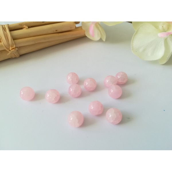 Perles en verre peint craquelé 8 mm rose clair x 20 - Photo n°1