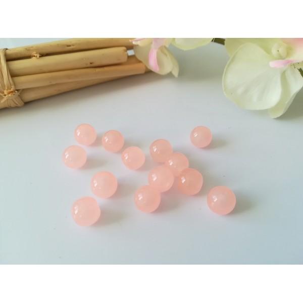 Perles en verre imitation jade 8 mm saumon x 20 - Photo n°1