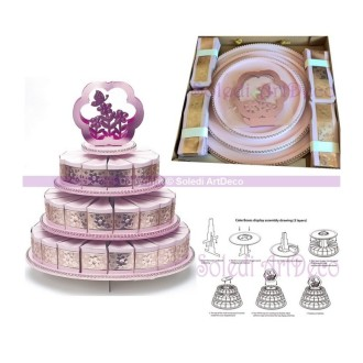 Pièce montée de 48 boites Part de gâteau, 3 étages en carton rose, Ø base 35 cm