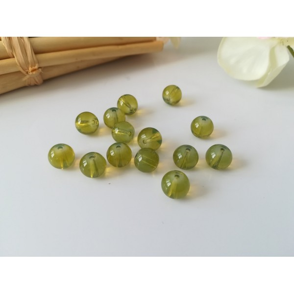 Perles en verre imitation Opalite 8 mm vert kaki x 20 - Photo n°1