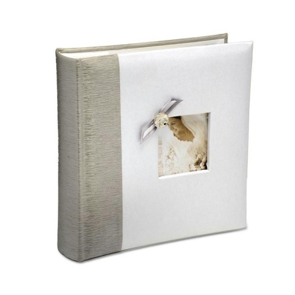 Livre d'Or Album Photo de Mariage Recouvert de satin blanc et argent, 22 cm - Photo n°1