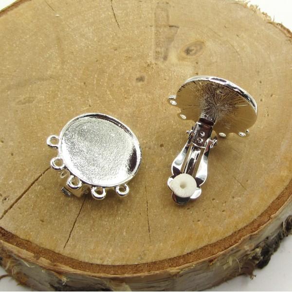 1 Paire Boucles Oreilles Argenté  Clip 5 Anneaux Support Cabochon 20 mm - Photo n°3