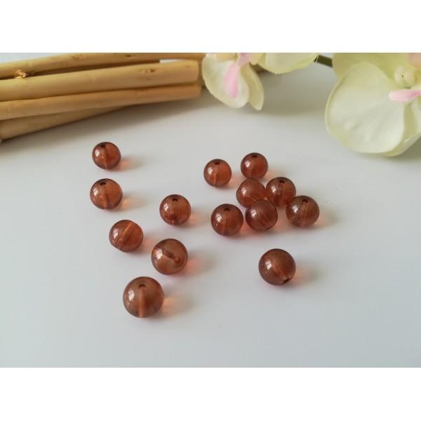 Perles en verre brillante 8 mm marron x 20 - Photo n°1