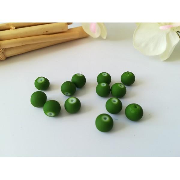Perles en verre effet caoutchouc 8 mm vert olive x 20 - Photo n°1