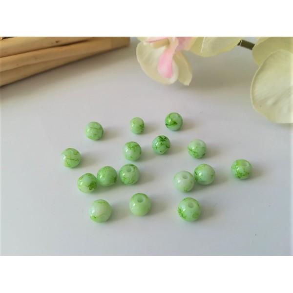 Perles en verre ronde 6 mm verte et blanche x 25 - Photo n°1