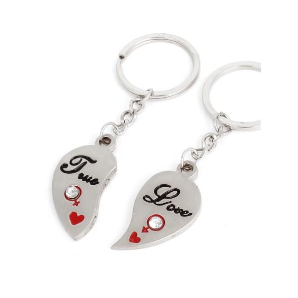Porte Clé Couple 2 Demi-Cœur Aimante