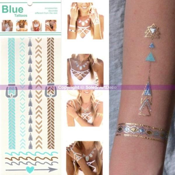 Tatouage Bracelet Cheville Ethnique Planche Tattoo Or Argent Bleu