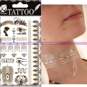Tatouage éphémère Chic doré et argenté, Egypte, Planche Tattoos: