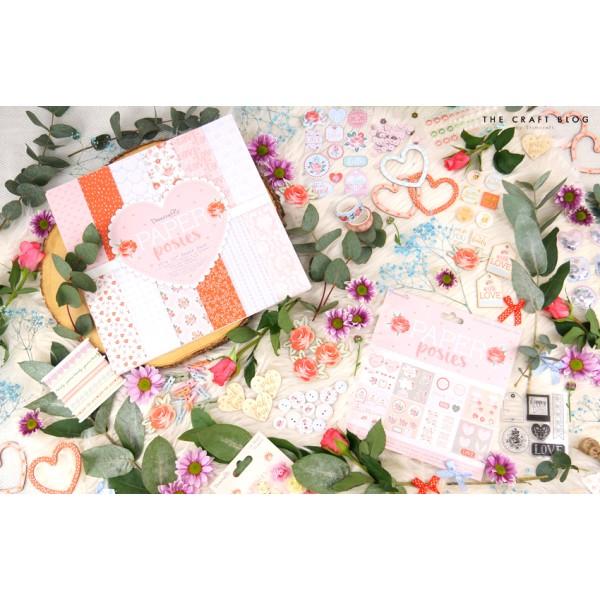 Maxi lot 5 mètres rubans coton paper posies love coeur - Photo n°2