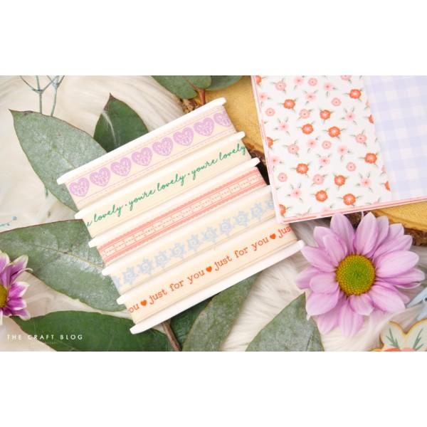 Maxi lot 5 mètres rubans coton paper posies love coeur - Photo n°3
