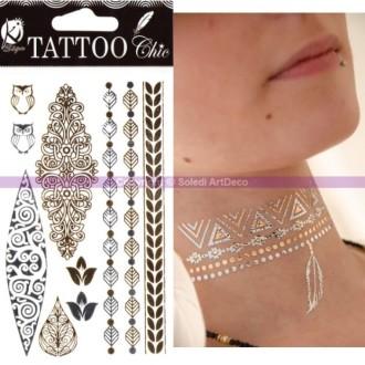 Bijoux de peau acheter tatouages temporaires et strass autocollants pour peau au meilleur prix - Tatouage ephemere dore ...