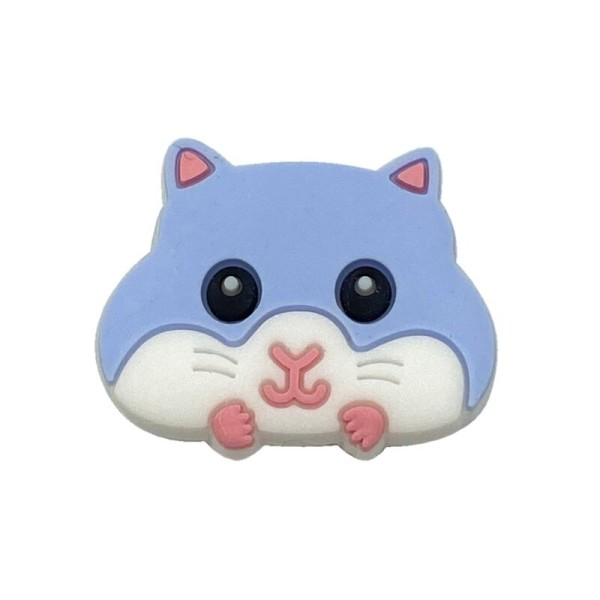 Perle Silicone Hamster Bleu 30mm x 24mm, Creation bijoux - Photo n°1