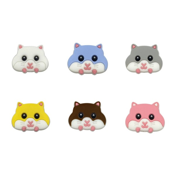 Perle Silicone Hamster Gris 30mm x 24mm, Creation bijoux - Photo n°2