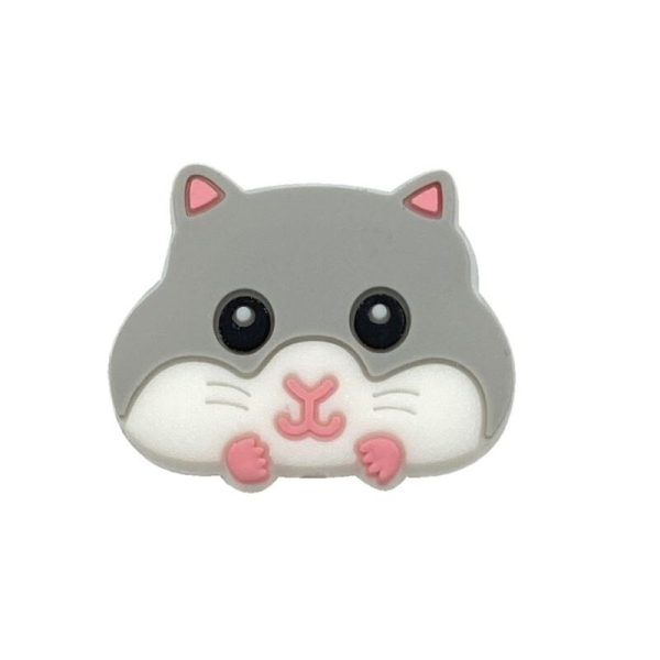 Perle Silicone Hamster Gris 30mm x 24mm, Creation bijoux - Photo n°1