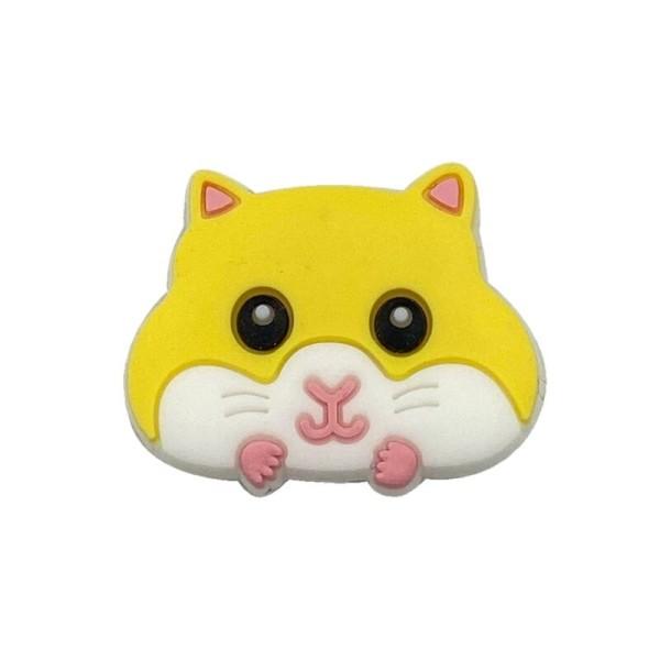 Perle Silicone Hamster Jaune 30mm x 24mm, Creation bijoux - Photo n°1
