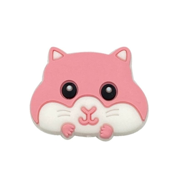 Perle Silicone Hamster Rose 30mm x 24mm, Creation bijoux - Photo n°1