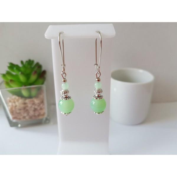 Kit de boucles d'oreilles argent mat et vert pale - Photo n°1
