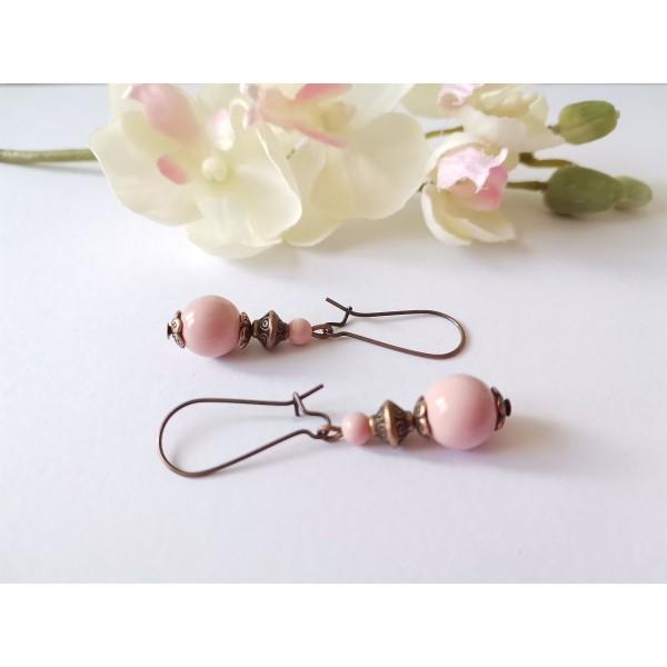 Kit de boucles d'oreilles cuivre rouge et rose pale - Photo n°2