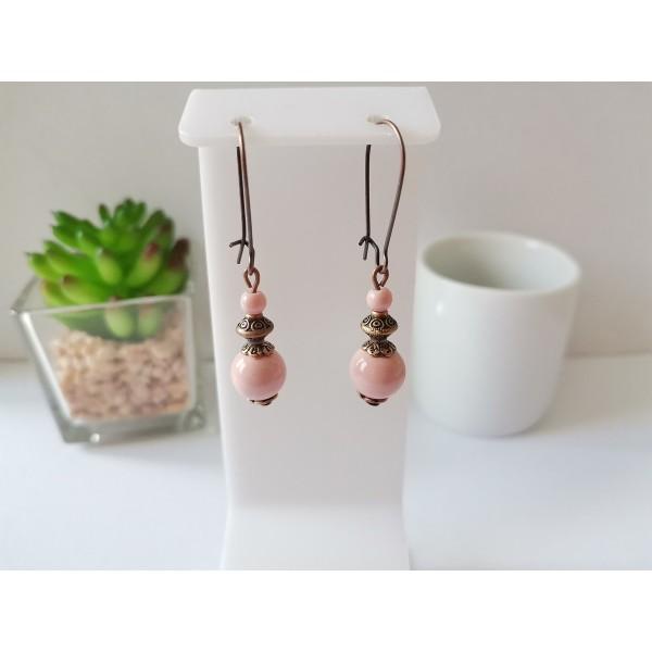 Kit de boucles d'oreilles cuivre rouge et rose pale - Photo n°1