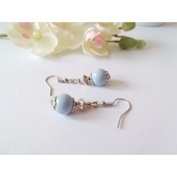 Kit de boucles d'oreilles argent mat et bleu ciel - Photo n°2