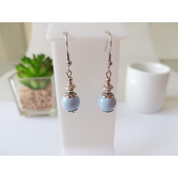 Kit de boucles d'oreilles argent mat et bleu ciel - Photo n°1