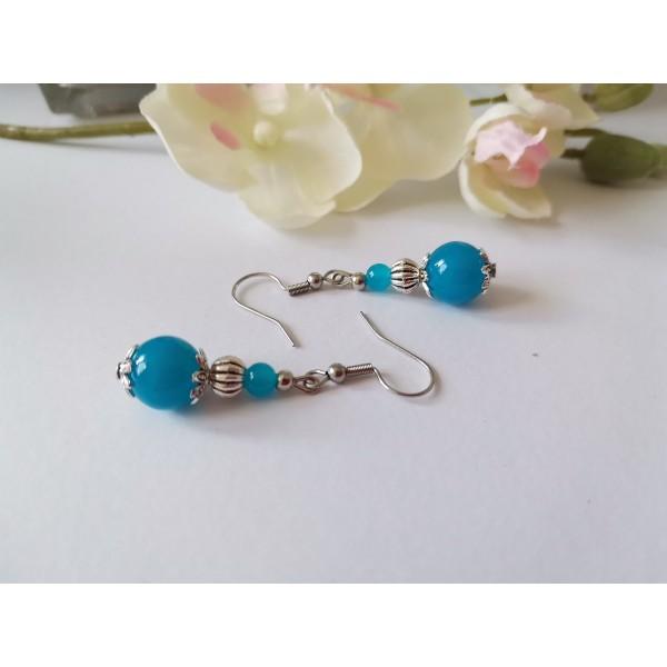 Kit de boucles d'oreilles argent mat et bleu - Photo n°1